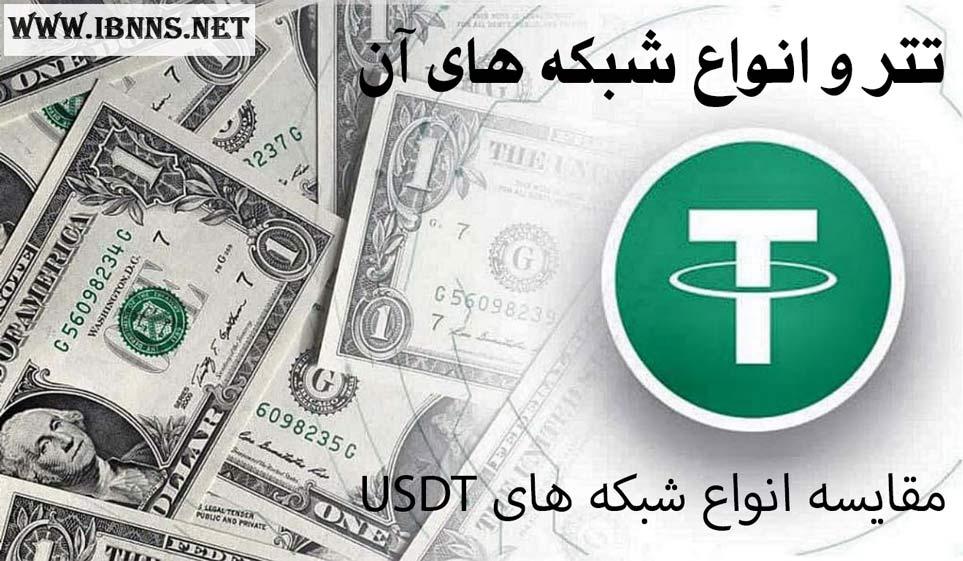 معرفی انواع تتر و شبکه های آن   راه های انتقال Tether  کارمزد انتقال انواع USDT